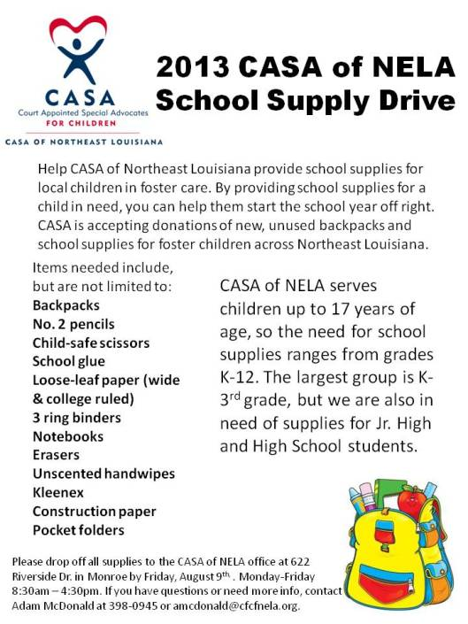 2013 CASA of NELA School Supply Drive